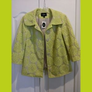 Luii NWT Lime Floral Jacket Size Small